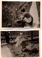 2 Photos Originales Jolie Plante Et Sa Plante Qui Sera La Première Du Jardin Vers 1950 - Objets