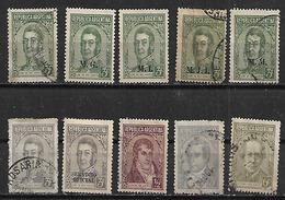 1935 Argentina Personajes S.Martin-Belgrano-Moreno-Alberdi 10v.variedades - Usados