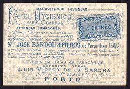 Cartão Publicidade PAPEL HIGIENICO P/ CIGARROS Rua Sto Antonio PORTO. Old Victorian Trade Card VTC CHROMO Portugal 1880s - Cromo