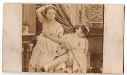 1860/70s CDV PHOTO Ancienne NUDE Sexy Girls Femme Erotique Nus Prostituée Carte-de-Visite Lesbienne Lesbian 14 - Beauté Féminine (...-1920)