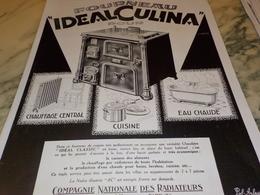 ANCIENNE PUBLICITE FOURNEAU  IDEAL CULINA 1928 - Publicidad