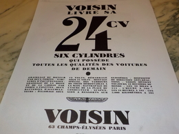 ANCIENNE PUBLICITE 24 CV  VOITURE VOISIN 1928 - Vervoer