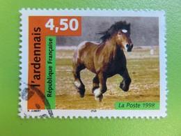 """Timbre France YT 3185 - Série """"Nature De France"""" - Chevaux - L'ardennais - 1998 - Used Stamps"""