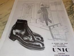 ANCIENNE PUBLICITE CHAUSSURE UNIC SOBRIETE 1928 - Vintage Clothes & Linen