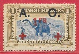 Ruanda-Urundi N°42 1F Sur 1F Jaune-olive, Noir, Rouge (Croix-Rouge / Red Cross) 1918 * - Ruanda-Urundi