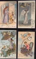 12 Cartes FANTAISIE Gaufrées - Anges - Angelots - Noël - Bonne Année - Other