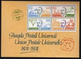 Malta 1974 / 100th Ann. Of Universal Postal Union, UPU, Train, Ship, Airplane, Post, Heinrich Von Stephan / MNH, Mi BL 4 - UPU (Union Postale Universelle)