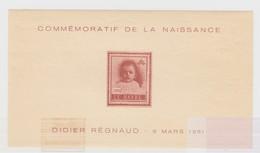 FEUILLET COMMEMORATIF DE LA NAISSANCE DIDIER REGNAUD 8 MARS 1961. 002 LE HAVRE - Blocs & Feuillets