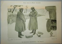 AUTHENTIQUE ET ANCIENNE AFFICHETTE OMNIA PETITES SCENES DU MONDE AUTOMOBILE LES CHAUFFEURS IMPRÉVOYANTS PAUL HERMANN - Publicités