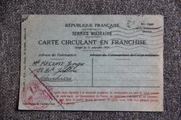 Carte Circulant En Franchise , Service Militaire  ( 1949), Sursis D'incorporation. - Andere Kriege