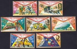 Equatorial Guinea 1974 / 100th Ann. Of Universal Postal Union, UPU, Horse, Coach, Airplane, Satellite / MNH, Mi 382-388 - UPU (Union Postale Universelle)