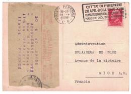 """1940 - MORCEAU De BANDE De JOURNAL De """" L'ÉCLAIREUR DE NICE """" Sur CARTE CP FIRENZE TALIE Pour CHANGEMENT D'ADRESSE - 1921-1960: Modern Period"""