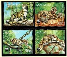 Malaysia 1995 Clouded Leopard WWF Set Of 4 MNH - Malaysia (1964-...)