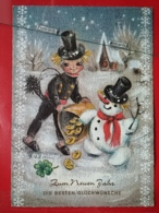 KOV 8-205 - New Year, Bonne Annee, Ramoneur, Chimney Sweep, SNOWMAN, Bonhomme De Neige - Anno Nuovo