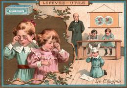 Chromo Dorée Lefèvre-Utile, Biscuits Petit-Beurre Lu - Lithographie: Le Chagrin - Lu