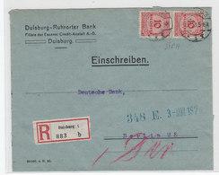 Deutsches Reich R-Brief Der Duisburg-Ruhrorter Bank Mit MEF+AKs - Deutschland