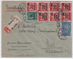 Deutsches Reich R-Brief Der Fa.August Brückmann Tauwerkfabrik Hamburg Mit MIF+AKs - Deutschland