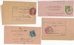 4X AVIS DE RECEPTION AVEC 4 TIMBRES DIFFERENTS - Storia Postale