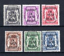 PRE381/386 MNH** 1938 - Klein Staatswapen IX Opdruk Type A  - REEKS 9 - Precancels