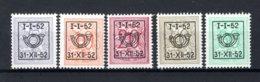 PRE620/624 MNH** 1952 - Cijfer Op Heraldieke Leeuw Type D - REEKS 42 - Precancels