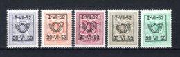 PRE625/629 MNH** 1952 - Cijfer Op Heraldieke Leeuw Type D - REEKS 43 - Precancels