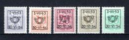 PRE635/639 MNH** 1953 - Cijfer Op Heraldieke Leeuw Type D - REEKS 45 - Typos 1951-80 (Chiffre Sur Lion)