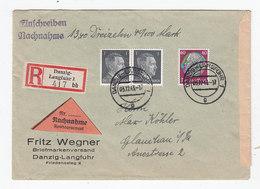 Danzig R+NN-Brief Vom Briefmarken-Versand Wegner Nach Glauchau - Dantzig