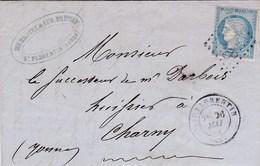 LAC De Saint-Florentin (89) Pour Charny (89) - 26 Mai 1872 - Timbre YT 60 - CAD 17 + Ob. Los. GC 3598 + Ambulant - 1849-1876: Periodo Classico