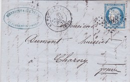 LAC De Saint-Florentin (89) Pour Charny (89) - 27 Août 1873 - Timbre YT 60 - CAD 17 + Ob. Los. GC 3598 + Ambulant - 1849-1876: Periodo Classico