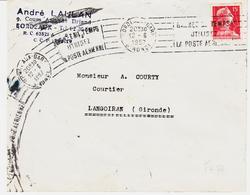 France, De Bordeaux Gare , RBV  Empreinte Curieuse( Glissement De L'nveloppe Sous La Machine , 1957 TB - Marcophilie (Lettres)