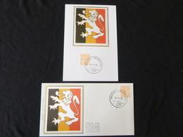 "BELG.1985 2159 FDC & Mcard Soie/zijde ( Bruxs ) : "" Cijfer Op Heraldieke Leeuw /Chiffre Sur Lion Héraldique "" - FDC"
