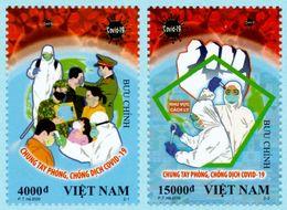 "VIETNAM 2020 Anti ""COVID-19"" BUSTA VIAGGIATA RACCOMANDATA PRIMO GIORNO Virus Disease Perf 2v - Vietnam"
