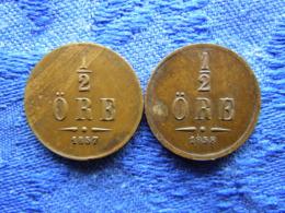 SWEDEN 1/2 ORE 1857, 1858, KM686 - Suède
