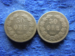 SWEDEN 50 ORE 1880, 1881 Cleaned, KM740 - Suède