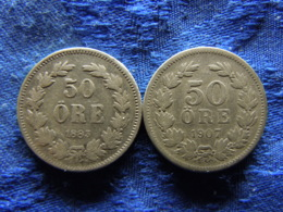 SWEDEN 50 ORE 1883 KM740, 1907 KM771 - Suède