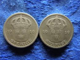SWEDEN 50 ORE 1916, 1919, KM788 - Suède