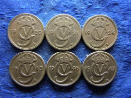 SWEDEN 50 ORE 1920, 1921, 1924, 1940, 1946, 1947, KM796 (6) - Suède