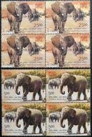 141. INDIA 2011 SET/2 STAMP INDIA - AFRICA FORUM SUMMIT , ELEPHANTS BLOCK OF 4 . MNH - Blocks & Kleinbögen