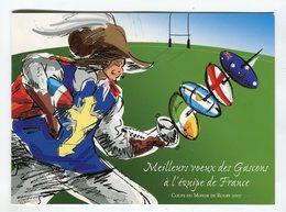 Carte Voeux °_ Gascons à Équipe De France-RUGBY-Coupe Du Monde 2007- 13,5x18,5 Cm - R/V - Cartes Postales