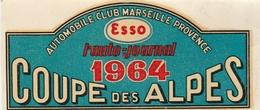Autocollant De Vitre 100x45 Mn Coupe Des Alpes 1964 Automobile Club Marseille Provence - Racing