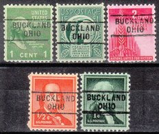 USA Precancel Vorausentwertung Preo, Locals Ohio, Buckland 729, 5 Diff. - Vereinigte Staaten