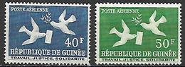 GUINEE   -  Aéros  -  1959  . Y&T N° 4 à 5 *.    .Oiseaux  /  Lettre. - Guinea (1958-...)