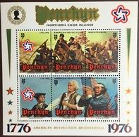 Penrhyn 1976 American Revolution Minisheet  MNH - Penrhyn