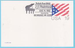 J.M. 40 - Etats Unis - FDC-  N° 39 - Compositeur - Paderewski - Piano - Musique