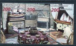 Kazakhstan - Kasachstan 2012 Y&T N°(4 à 6) - Michel N°(?) (o) - Décoration D'une Maison Traditionnelle - Se Tenant - Kazachstan