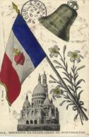 Fantaisie SOUVENIR DU SACRE COEUR DE MONTMARTRE  Basilique Drapeau Francais Cloche Cachet Etalans Doubs RV - Arrondissement: 18