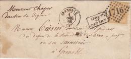 ISERE LST 1866 GRENOBLE GC SUR 21 ET T15 + GRIFFE APRES LE DEPART ( LOCALE ) - 1849-1876: Période Classique