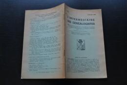 L' INTERMEDIAIRE DES GENEALOGISTES 51 1954 Généalogie Héraldique Famille VAN DER NOOT Branche Des Seigneurs De CARLOO - Histoire