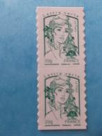 TIMBRE  AUTOADHESIF  No: Paire 858 De CARNET , MARIANNE De CIAPPA ,LETTRE VERTE, XX , En Bon état - France