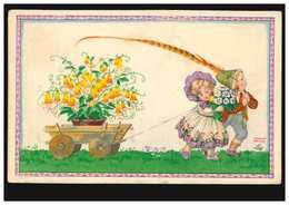Künstler-AK August Patek: Kinder Mit Holzwagen Blumen Fasanenfeder, Um 1920 - Illustrators & Photographers